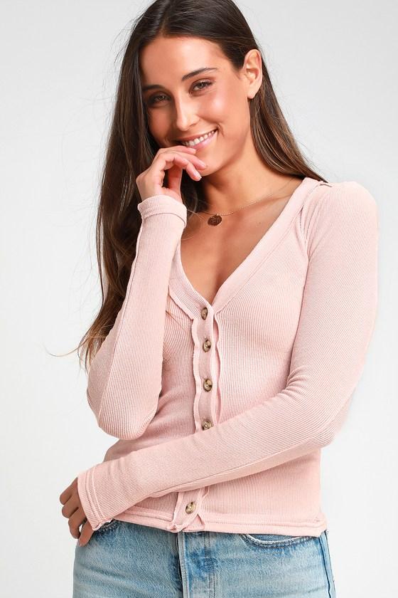 984587c44b05 Free People Call Me Cardi - Blush Pink Sweater - Cardigan Sweater