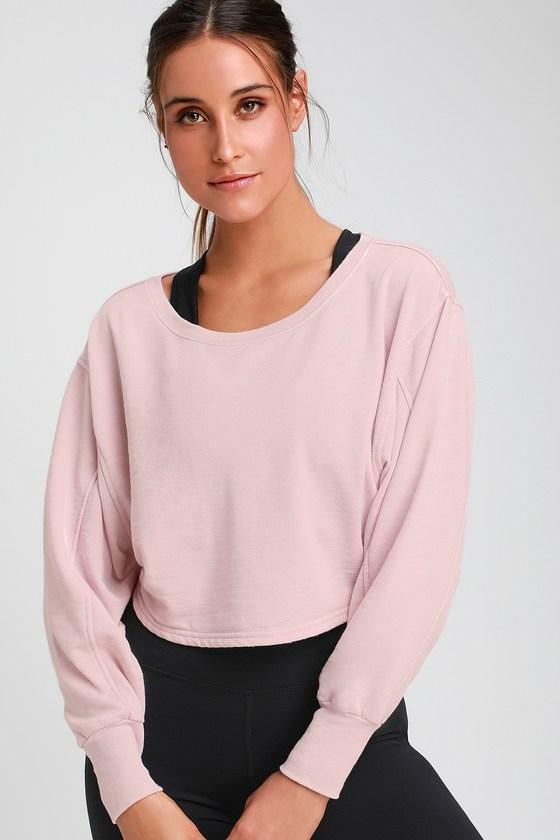 53ee69be2d7 Free People Zuma - Blush Pink Sweatshirt - Cropped Sweatshirt
