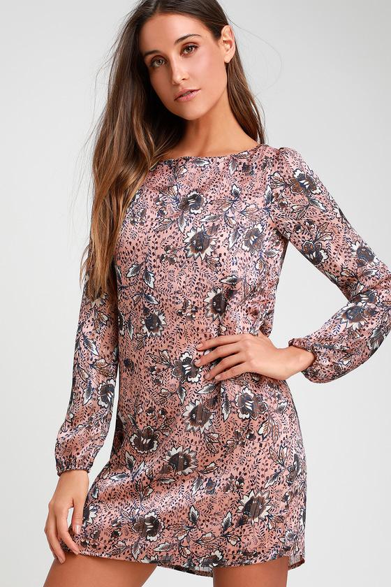 Ashford Blush Pink Floral Print Long Sleeve Shift Dress | Lulus