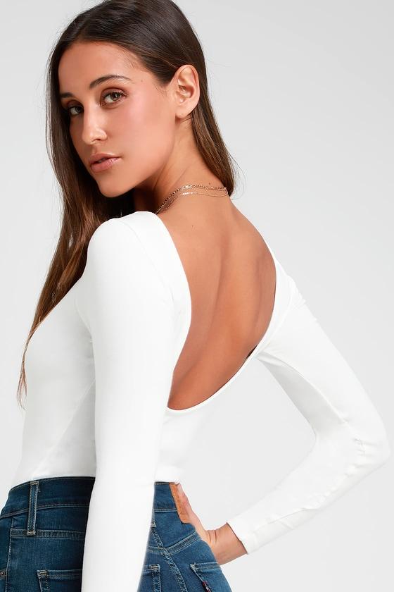 4205ca1ca2 Cute White Bodysuit - Long Sleeve Bodysuit - Scoopback Bodysuit