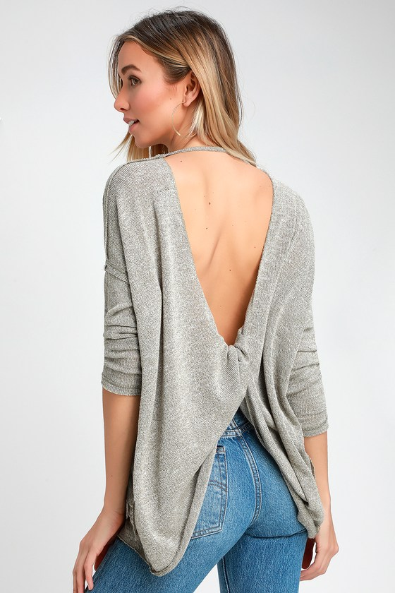 a35f215474 Cute Open Back Top - Knit Top - Heather Olive Green Top - Sweater