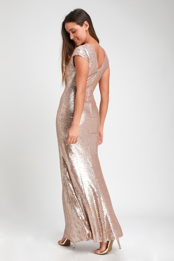 ee65a6119f Lovely Gold Dress - Gold Sequin Dress - Short Sleeve Maxi Dress