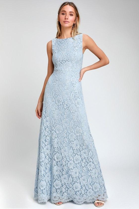 Brilliant Babe Light Blue Lace Maxi Dress