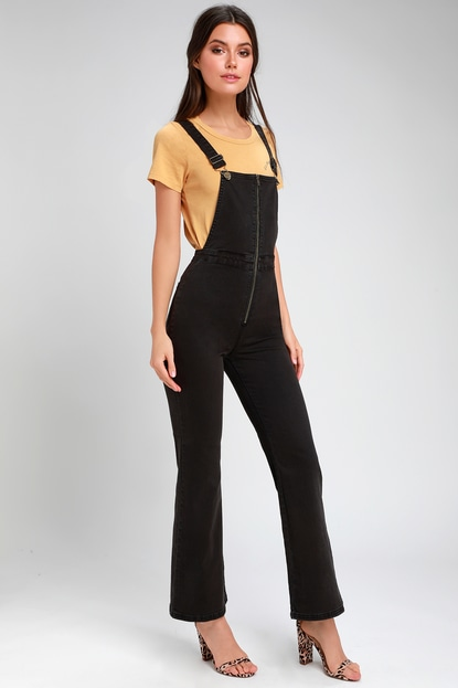 Amuse Society PALOMA BLACK HIGH-WAISTED WIDE-LEG OVERALLS