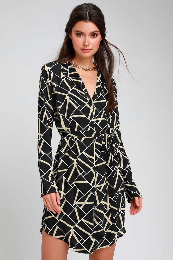 MIKI BLACK GEOMETRIC PRINT LONG SLEEVE SHIRT DRESS