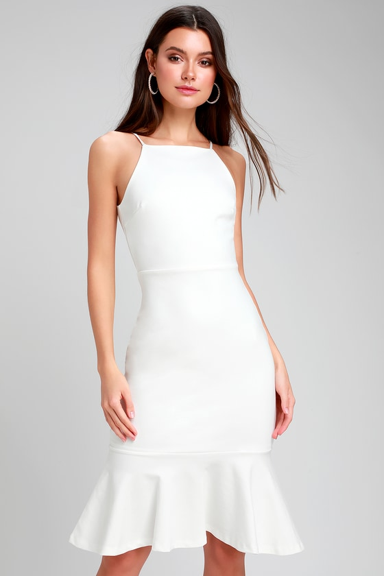 This Could Be Love White Bodycon Midi Dress - Lulus