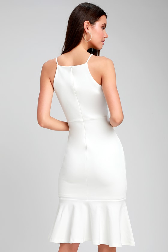 160200be4cdb3 Classic White Dress - Bodycon Dress - Midi Dress - Trumpet Dress