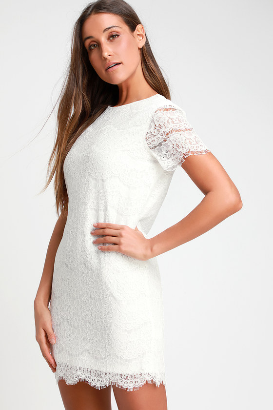 5e08d3afafb5e Pretty Lace Dress - Ivory Dress - Shift Dress -  49.00