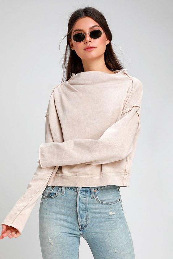Free People Oh Marley Beige Pullover Sweatshirt Sweater