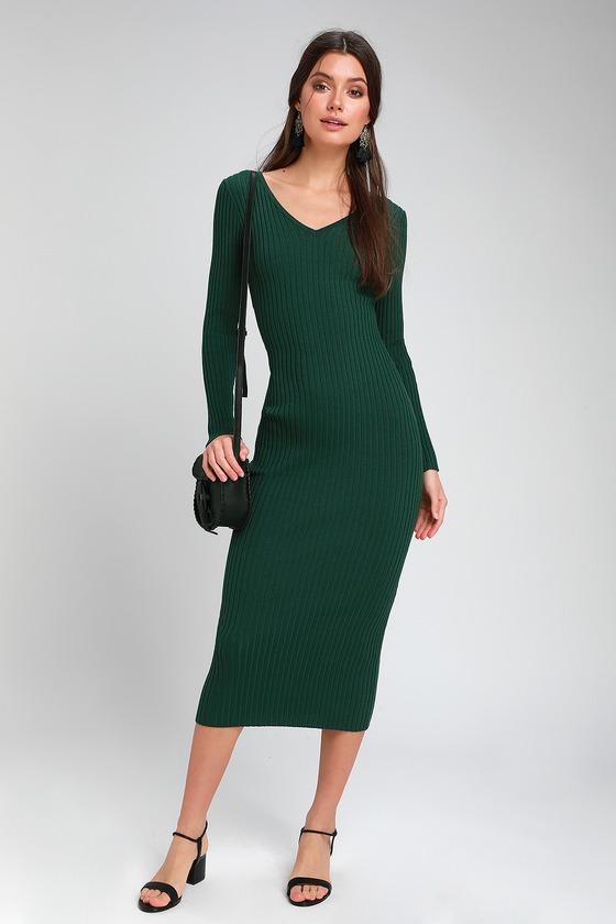 27f6328a62c1 Cute Forest Green Dress - Ribbed Knit Dress - Bodycon Midi Dress