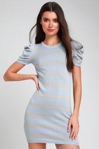 f8f6526130f Cute Sweater Dress - Blue Striped Dress - Mini Sweater Dress