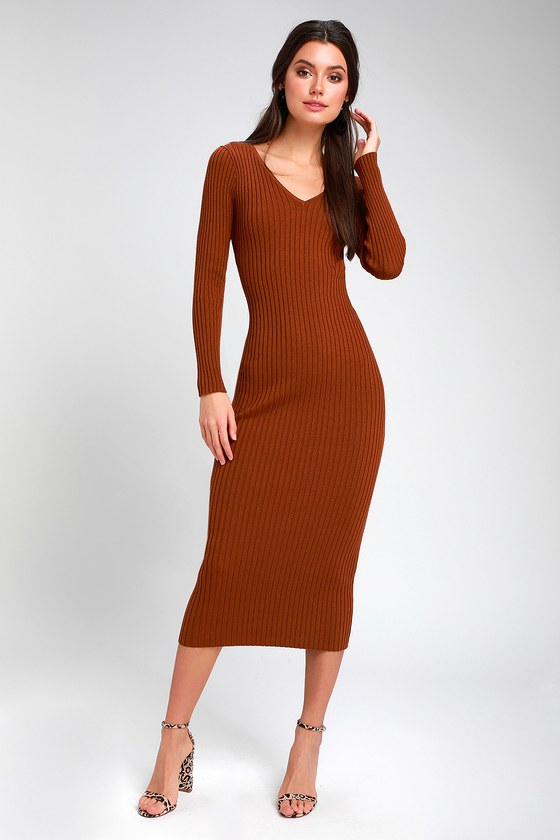 1c7bd5a66d8b Cute Brown Dress - Ribbed Knit Dress - Bodycon Midi Dress - Dress