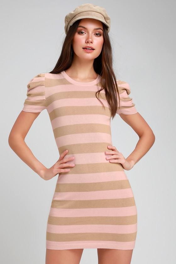 777662b99fad Striped Dress - Sweater Dress - Puff Sleeve Dress - Mini Dress