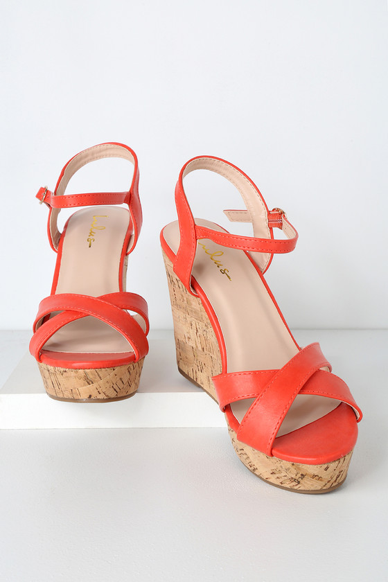Red Cork Wedge Coral Cute Sandals f76IbvmgYy