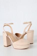 2594fd805a4d42 Sexy Nude Heels - Platform Heels - Lace-Up Heels - Vegan Suede Heels ...