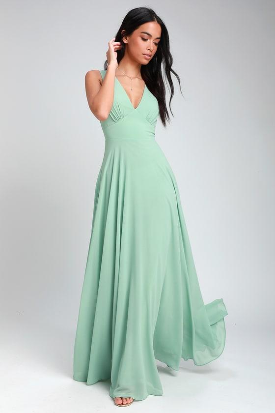 6042e8e6b88 Sage Green Maxi Dress - Sleeveless Maxi Dress - A-Line Maxi Dress