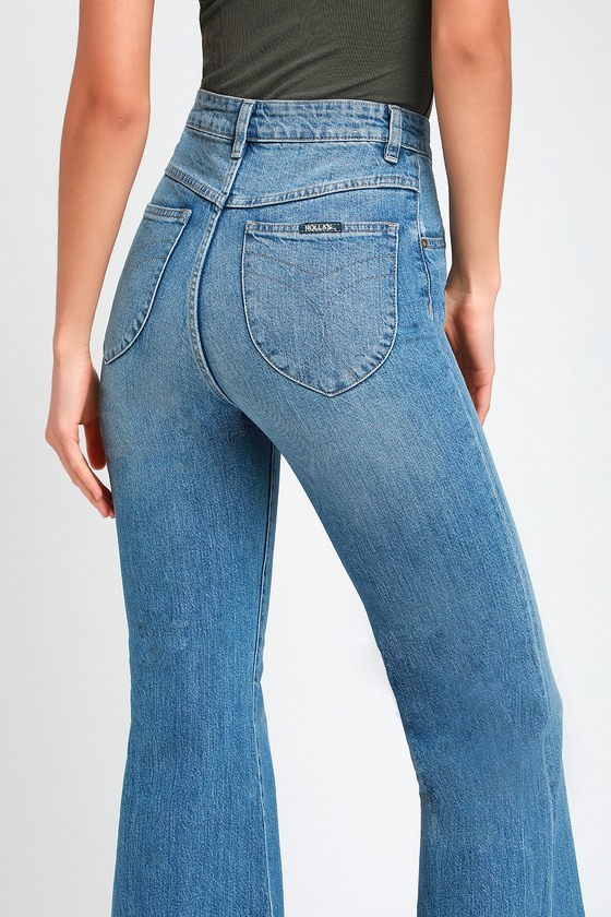 60s – 70s Pants, Jeans, Hippie, Bell Bottoms, Jumpsuits Eastcoast Light Blue High-Rise Flare Jeans - Lulus $99.00 AT vintagedancer.com