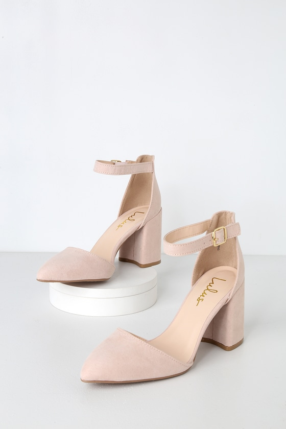 5d5fb3fa18d Ellarose Nude Suede Ankle Strap Heels
