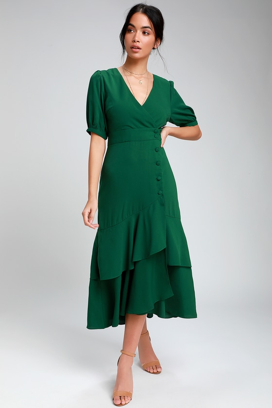 1930s Vintage Dresses, Clothing & Patterns Links Made My Day Forest Green Button-Up Short Sleeve Midi Dress - Lulus $58.00 AT vintagedancer.com
