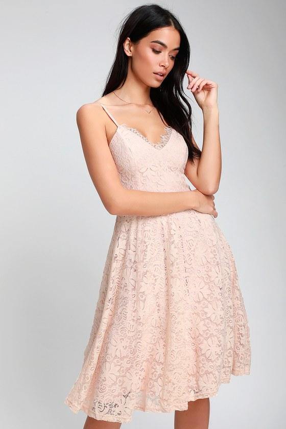 f3a2d3589a79 Cute Blush Pink Dress - Lace Dress - Skater Dress - Midi Dress