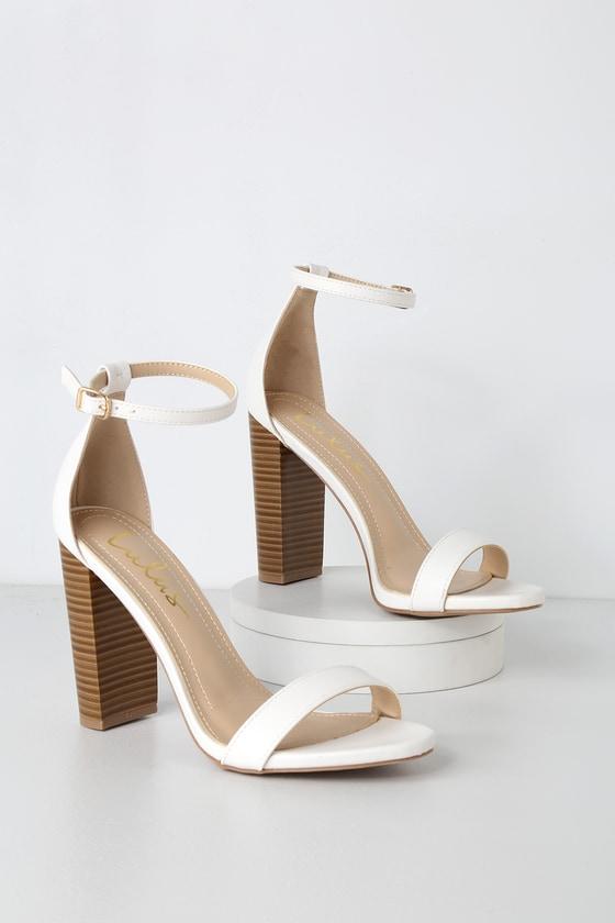 baefa2f8c0bd Sexy White Heels - Ankle Strap Heels - Single Sole Heels