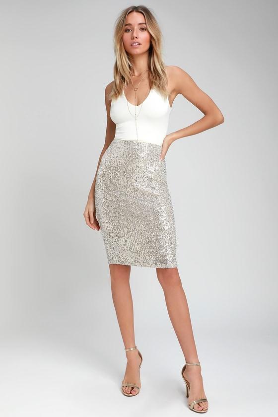 6d666cd7e281 Sexy Silver Pencil Skirt - Sequin Pencil Skirt - Silver Skirt