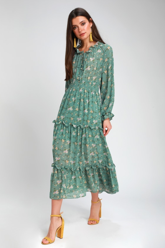 e4a8a8e8229 Lovely Sage Green Floral Print Dress - Midi Dress - Long Sleeve