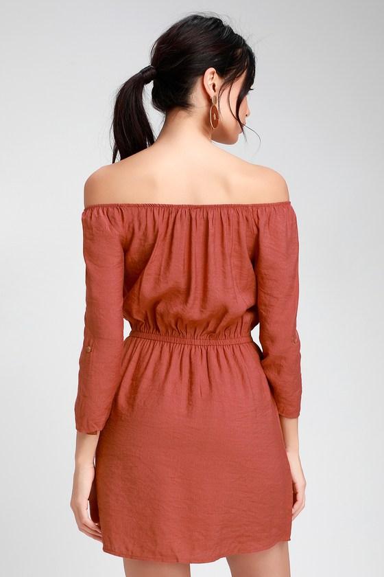b198a3605a Cute Rusty Rose Dress - Button Front Dress - Off-the-Shoulder
