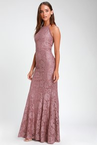Every Memory Mauve Lace Halter Maxi Dress