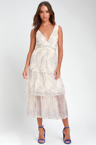 Viviana Blue And White Embroidered Lace Midi Dress