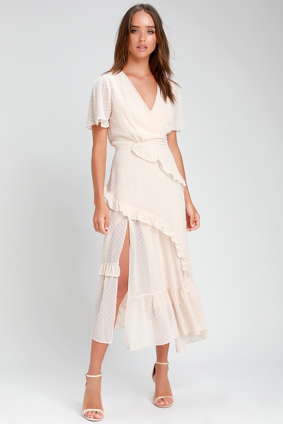 1930s Dresses | 30s Art Deco Dress Next to You Cream Swiss Dot Ruffled Midi Dress - Lulus $64.00 AT vintagedancer.com