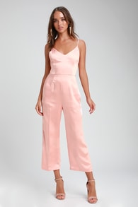 turn the spotlights on blush pink satin culotte jumpsuit