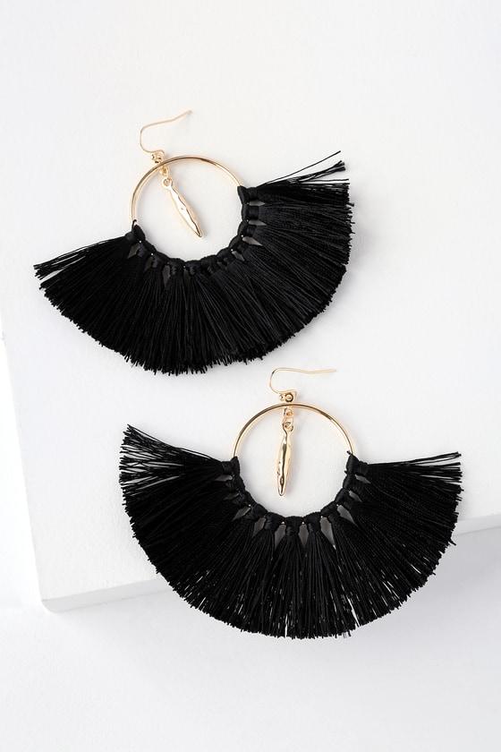 12e5f48f9419fa Boho Tassel Earrings - Black Tassel Earrings - Fringe Earrings