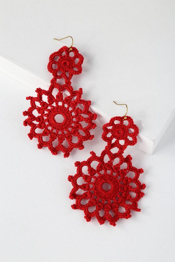 Boho Red Earrings Crocheted Earrings Statement Earrings