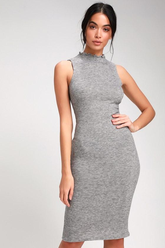 46d2bf3c6b4b4 Cute Heather Grey Dress - Midi Dress - Mock Neck Dress