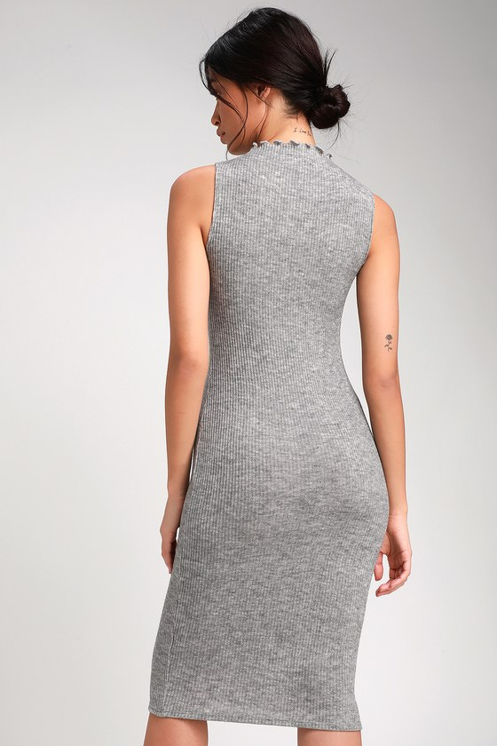 41af60adf434 Stay in Style Heather Grey Ribbed Knit Mock Neck Midi Dress