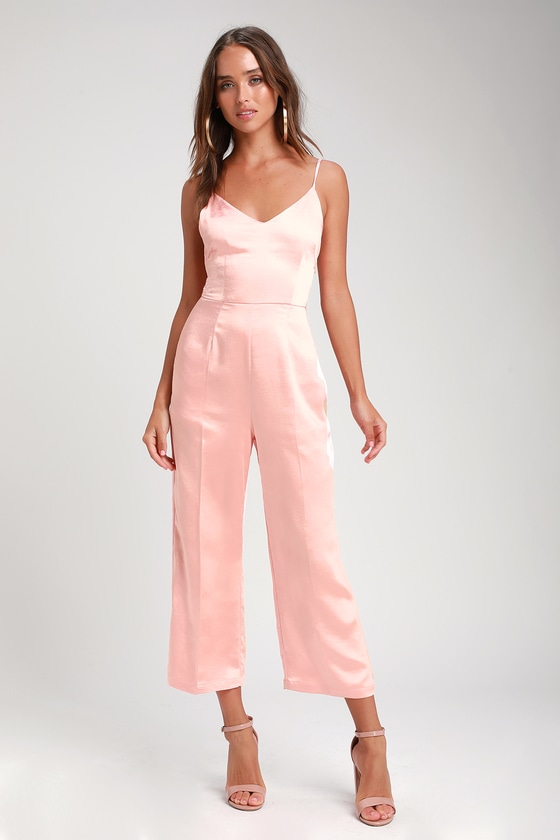 94c3f45235f3 Cool Blush Pink Jumpsuit - Satin Jumpsuit - Culotte Jumpsuit