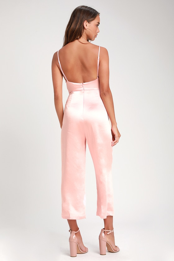 fc41c94e5e18 Cool Blush Pink Jumpsuit - Satin Jumpsuit - Culotte Jumpsuit