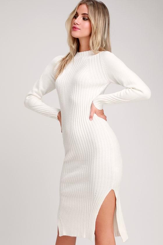 a37a3814ed7 Snuggle Party Ivory Mock Neck Midi Sweater Dress
