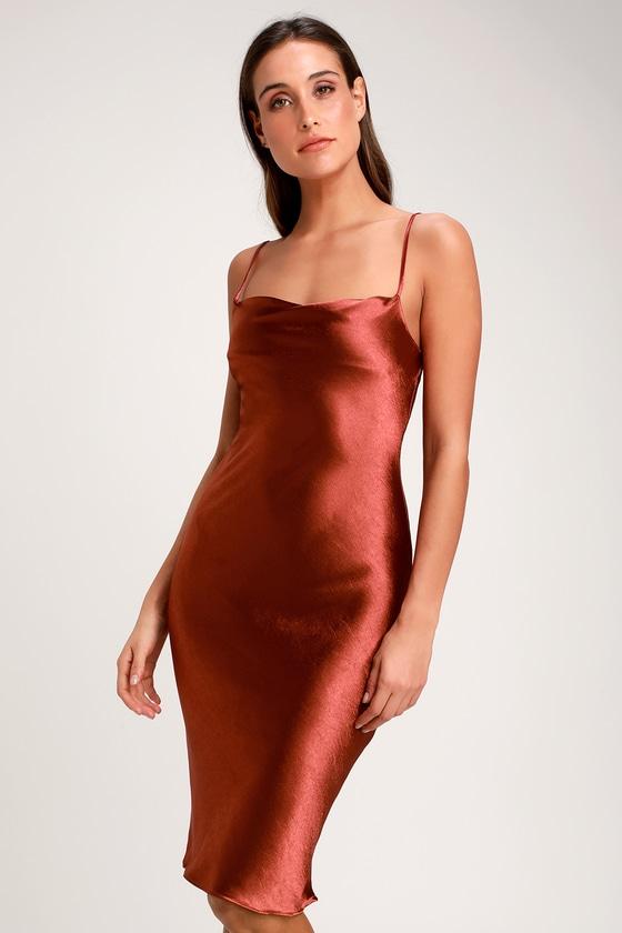 9688994ef72a Sexy Copper Dress - Satin Dress - Satin Midi Dress - Copper Dress