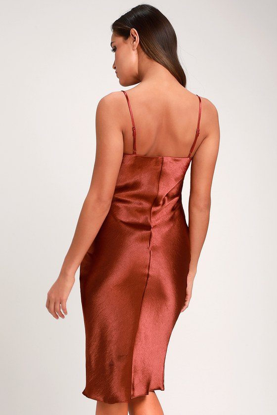 2eb89511209e Sexy Copper Dress - Satin Dress - Satin Midi Dress - Copper Dress