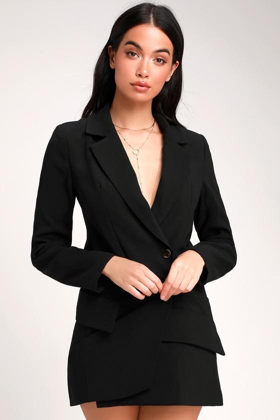 c630ec5ab5f2 Sexy Black Dress - Blazer Dress - Long Sleeve Dress - Mini Dress