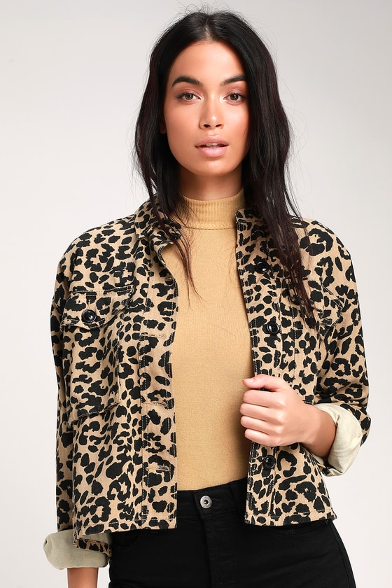 Fashionably Fierce Beige Leopard Print Denim Jacket
