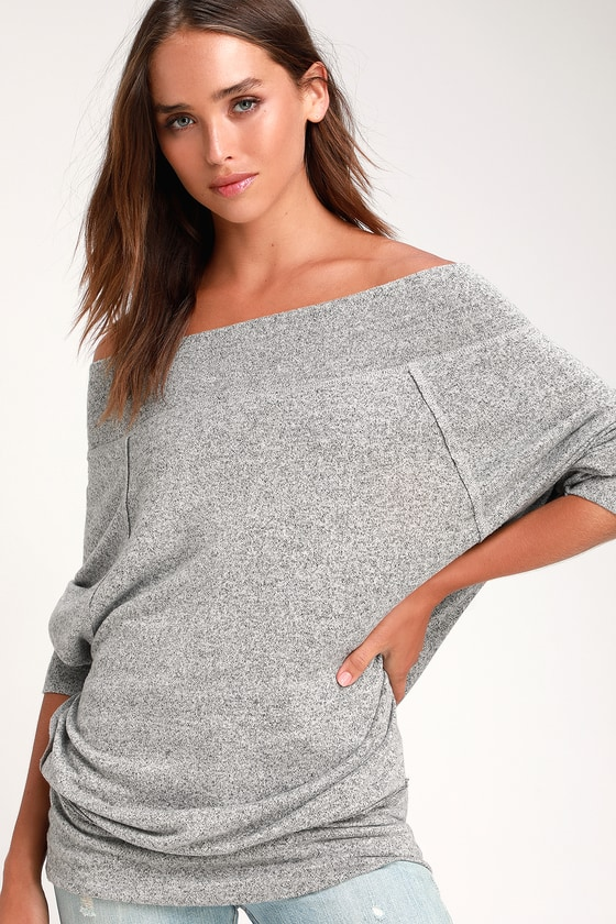 92729769ac Chic Heather Grey Off-the-Shoulder Top - Grey OTS Sweater Top