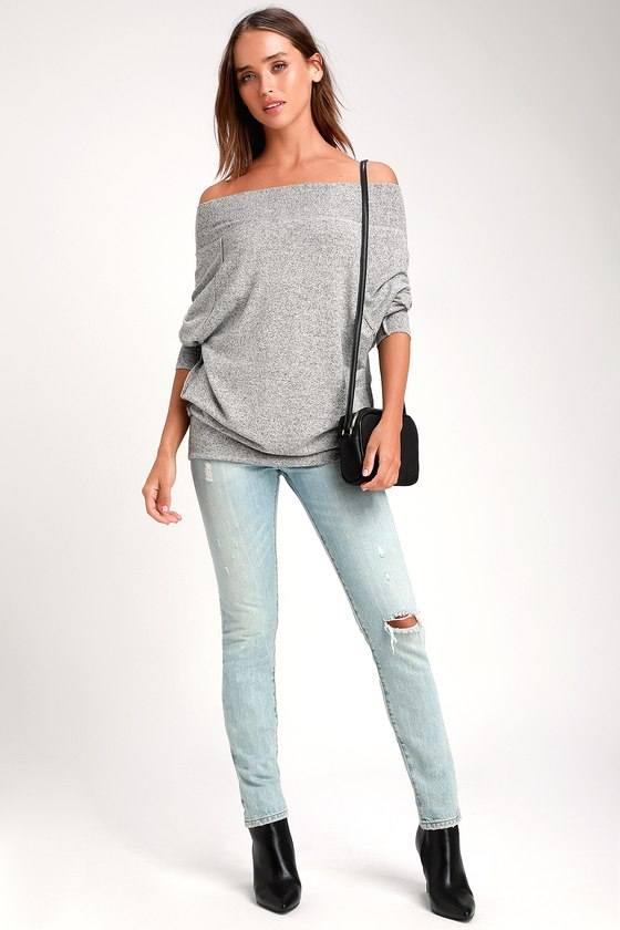 Casual Magic Heather Grey Off-the-Shoulder Sweater Top