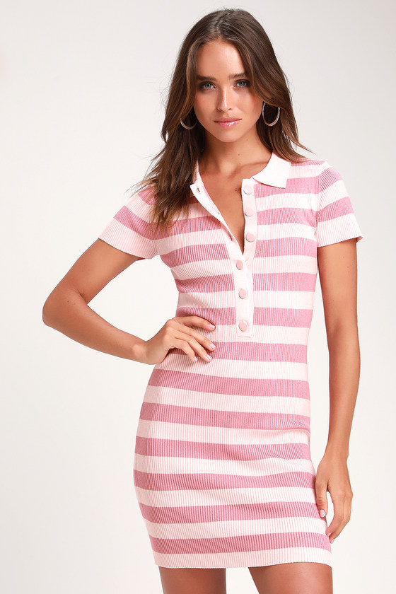 So Glad Pink Striped Bodycon Shirt Dress