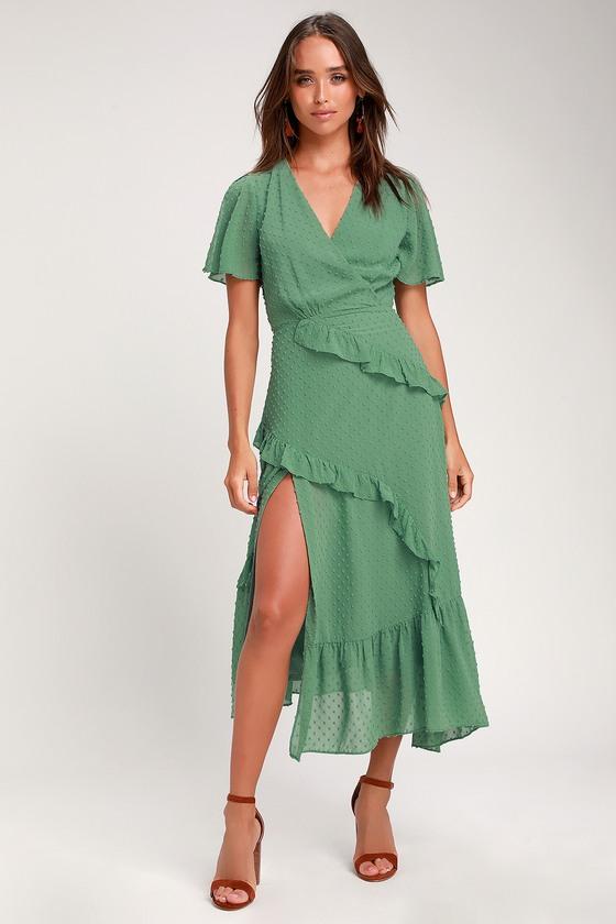 1930s Dresses | 30s Art Deco Dress Next to You Sage Green Swiss Dot Ruffled Midi Dress - Lulus $64.00 AT vintagedancer.com
