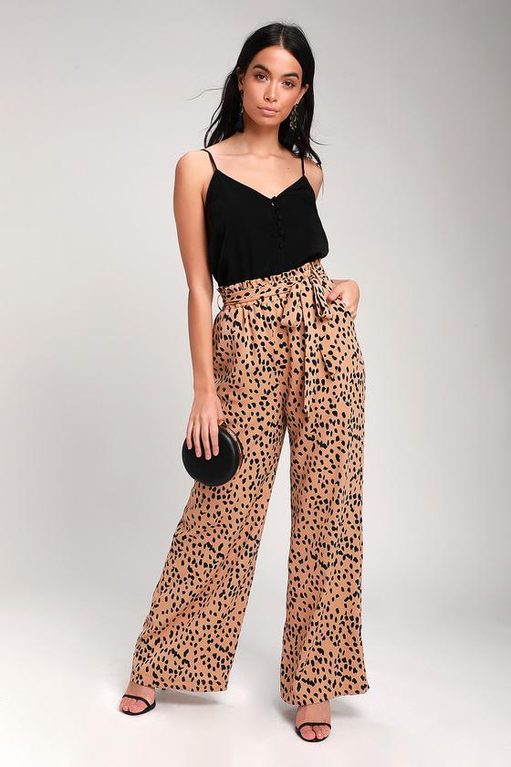 ee34e382d9e1 Trendy Nude Leopard Print Pants - Leopard Print Wide-Leg Pants