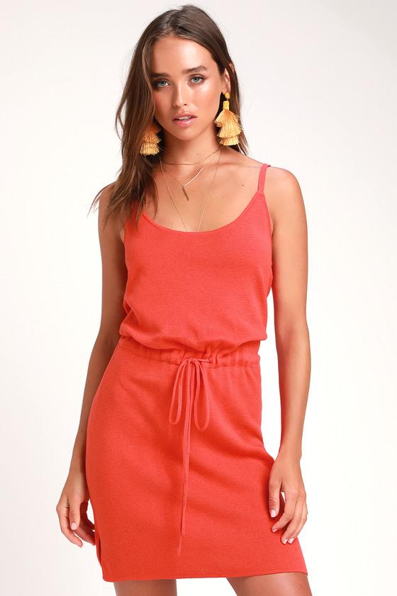 97c03ae4b6dc Cute Coral Red Dress - Drawstring Knit Dress - Knit Mini Dress