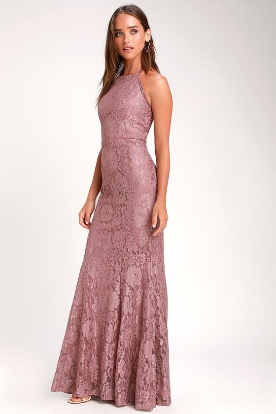 07a5d719e7f Glam Mauve Dress - Lace Maxi Dress - Halter Lace Maxi Dress